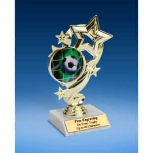 Soccer 1 Star Ribbon Trophy 6""