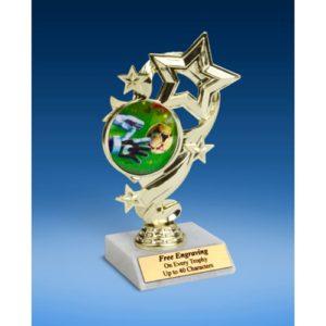 "Soccer 3 Star Ribbon Trophy 6"""