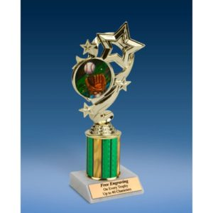 Baseball 2 Star Ribbon Trophy 8""