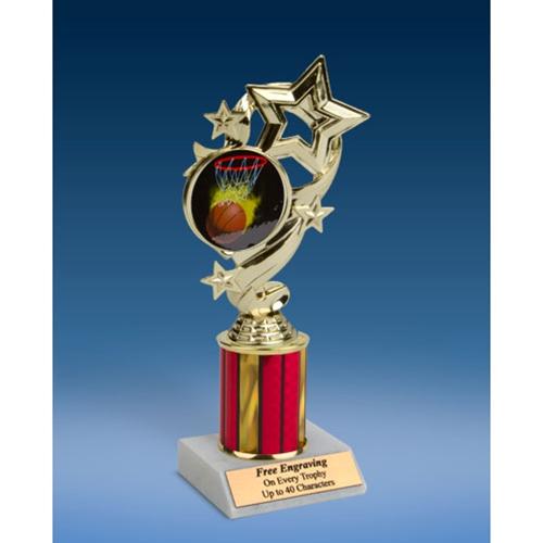 "Basketball 1 Star Ribbon Trophy 8"""