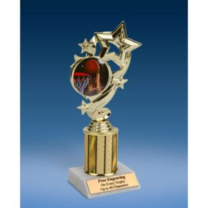 "Basketball 2 Star Ribbon Trophy 8"""