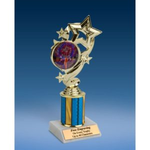 "Cheerleading 2 Star Ribbon Trophy 8"""