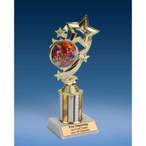 Football 2 Star Ribbon Trophy 8""