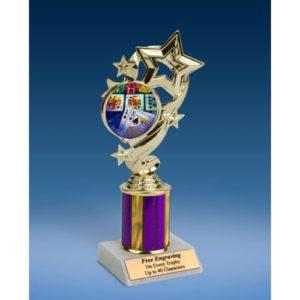 "Poker Star Ribbon Trophy 8"""