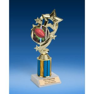 "Rugby 1 Star Ribbon Trophy 8"""