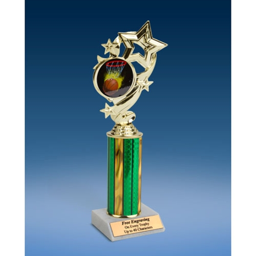 Basketball 1 Star Ribbon Trophy 10""