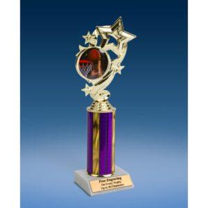 "Basketball 2 Star Ribbon Trophy 10"""
