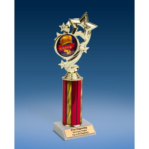Coach Star Ribbon Trophy 10""