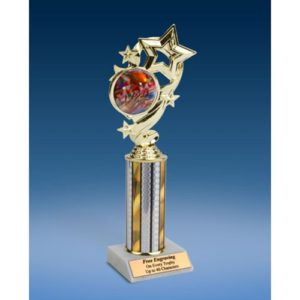 Football 2 Star Ribbon Trophy 10""