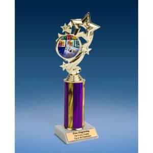 "Poker Star Ribbon Trophy 10"""