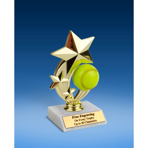 Softball 3-Star Sport Spinner Trophy 6""