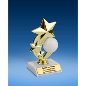 Volleyball 3-Star Sport Spinner Trophy 6""