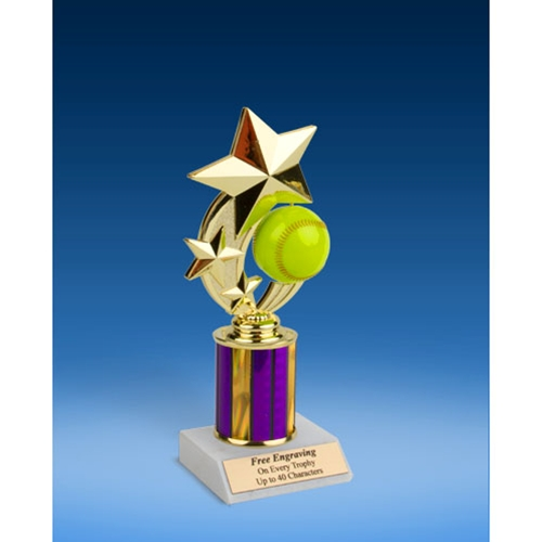 Softball 3-Star Sport Spinner Trophy 8""