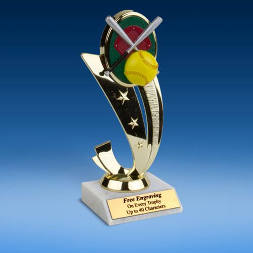 Softball Colored Sport Scene Trophy-0