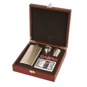Rosewood Finish Flask and Card Set