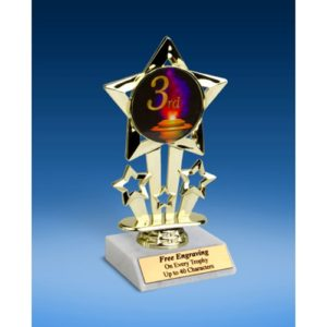 3rd Place Quad Star Mylar Holder Trophy 6""