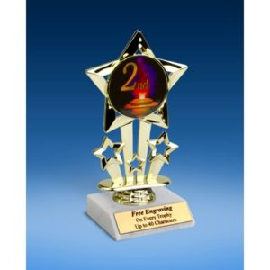 2nd Place Quad Star Mylar Holder Trophy 6""