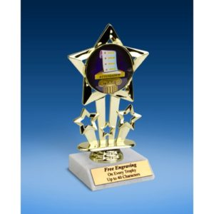 Attendance Quad Star Mylar Holder Trophy 6""