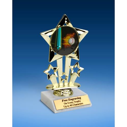 "Baseball 1 Quad Star Mylar Holder Trophy 6"""