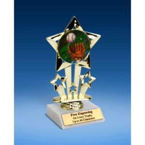 Baseball 2 Quad Star Mylar Holder Trophy 6""
