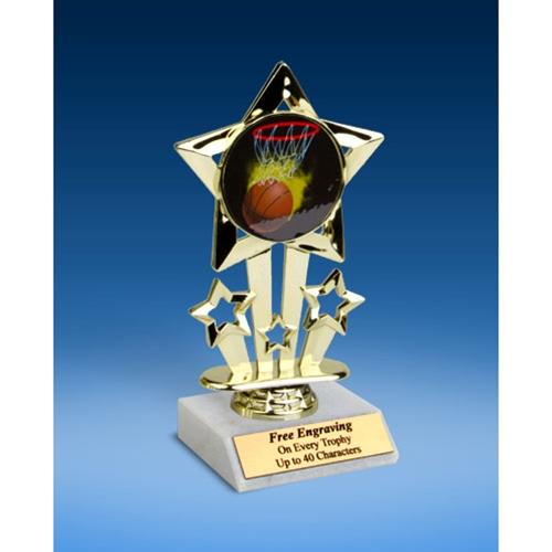 "Basketball 1 Quad Star Mylar Holder Trophy 6"""