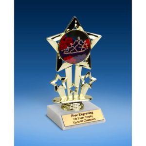 Beauty Queen Quad Star Mylar Holder Trophy 6""
