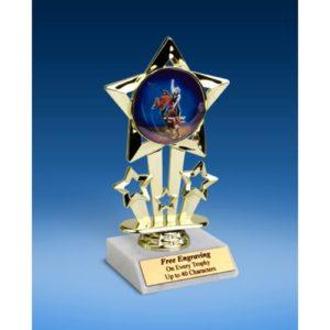 "Bull Riding Quad Star Mylar Holder Trophy 6"""