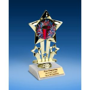 Cheerleading 1 Quad Star Mylar Holder Trophy 6""
