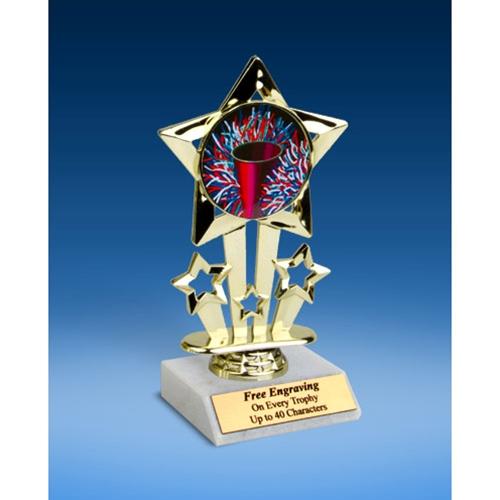 "Cheerleading 1 Quad Star Mylar Holder Trophy 6"""