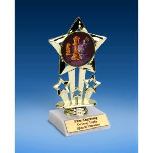 """Chess Quad Star Mylar Holder Trophy 6"""""""