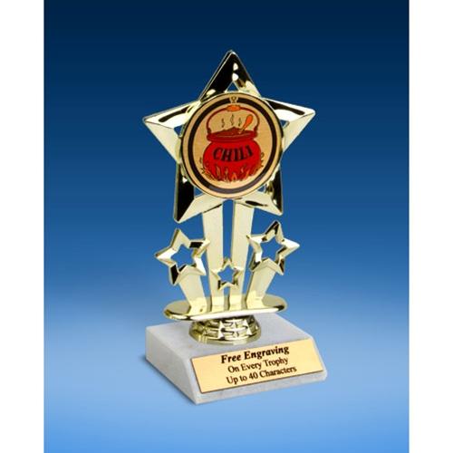 """Chili Quad Star Mylar Holder Trophy 6"""""""