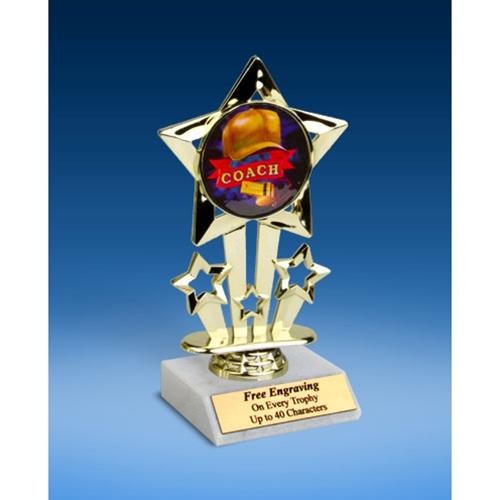 """Coach Quad Star Mylar Holder Trophy 6"""""""