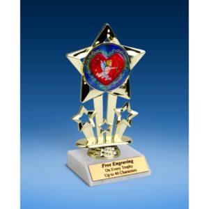 """Cupid Quad Star Mylar Holder Trophy 6"""""""