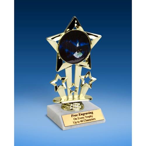 """Eagle Quad Star Mylar Holder Trophy 6"""""""