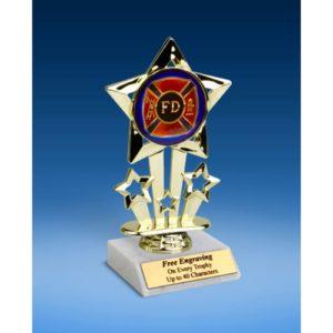 "Fire Department Quad Star Mylar Holder Trophy 6"""