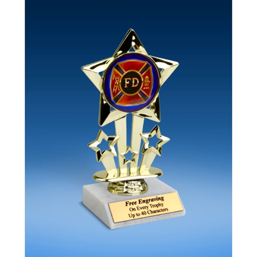 Fire Department Quad Star Mylar Holder Trophy 6""