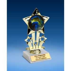 Fishing Quad Star Mylar Holder Trophy 6""