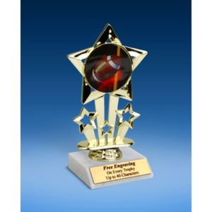 Football 1 Quad Star Mylar Holder Trophy 6""