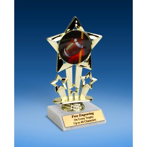 """Football 1 Quad Star Mylar Holder Trophy 6"""""""