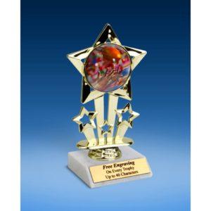 """Football 2 Quad Star Mylar Holder Trophy 6"""""""