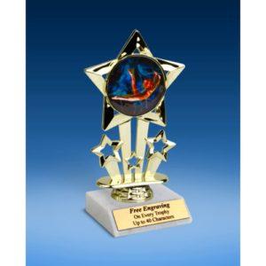 "Gymnastics Female Quad Star Mylar Holder Trophy 6"""