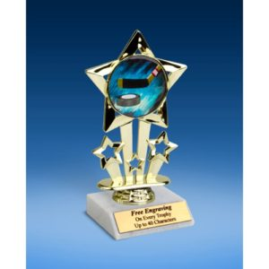 Hockey Quad Star Mylar Holder Trophy 6""