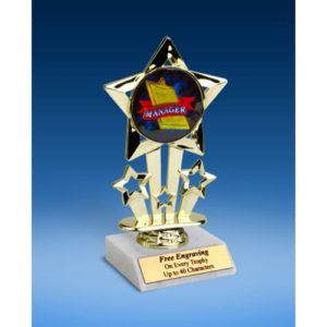 """Manager Quad Star Mylar Holder Trophy 6"""""""