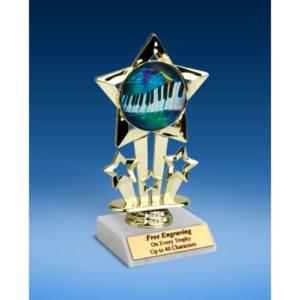 "Music 2 Quad Star Mylar Holder Trophy 6"""