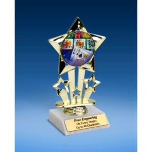 "Poker Quad Star Mylar Holder Trophy 6"""