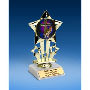 "Religious Quad Star Mylar Holder Trophy 6"""