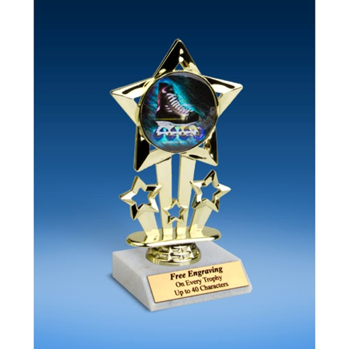 Rollerblading Quad Star Mylar Holder Trophy 6""
