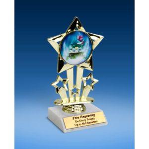 """Snowmobile Quad Star Mylar Holder Trophy 6"""""""