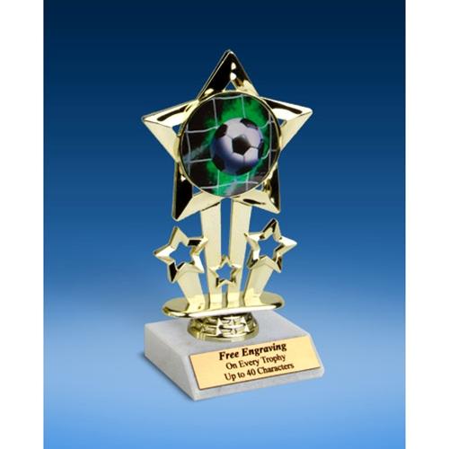 """Soccer 1 Quad Star Mylar Holder Trophy 6"""""""
