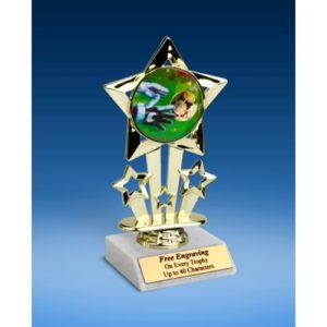 """Soccer 3 Quad Star Mylar Holder Trophy 6"""""""